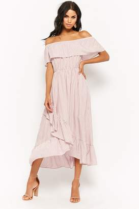 Forever 21 Pinstriped Flounce High-Low Dress