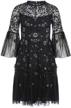Needle & Thread Dahlia Floral Sheer Bell-Sleeve Dress