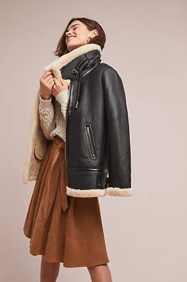 Korirl Aviator Faux Leather Coat