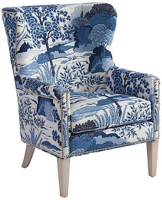 Barclay Butera Avery Wingback Chair - Blue/White Linen
