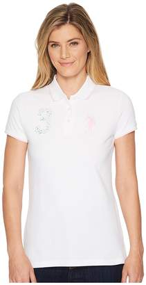 U.S. Polo Assn. Floral 3 Polo Shirt Women's Clothing