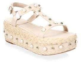 Stuart Weitzman Studded Leather Espadrilles