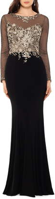 Xscape Evenings Embellished Long Sleeve Trumpet Evening Gown