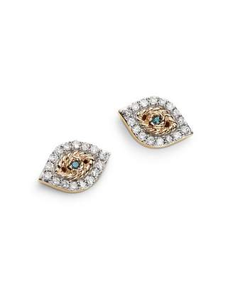 Adina 14K Yellow Gold Pavé Blue & White Diamond Tiny Evil Eye Stud Earrings