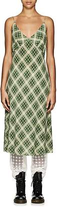 Marc Jacobs Women's Plaid Washed Silk Slipdress - Grn. Pat.