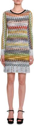 Missoni Long-Sleeve Multi-stripe Fringe-Hem Mini Dress