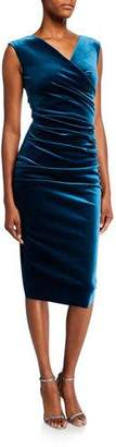 Chiara Boni Sleeveless Shirred Velvet Dress