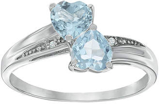 JCPenney FINE JEWELRY Simulated Aquamarine and Diamond-Accent Sterling Silver Double-Heart Ring