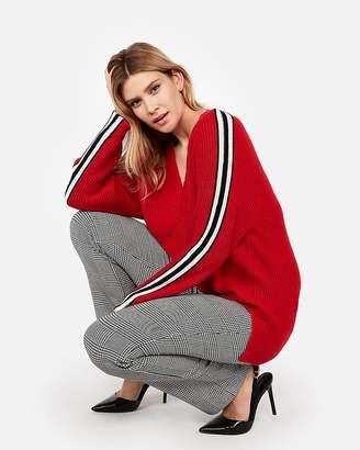 Express Stripe Oversized Shaker Knit Deep V-Neck Tunic Sweater