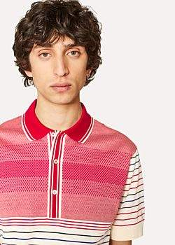Paul Smith Men's Cream And Red Cotton Jacquard and Stripe Polo Shirt