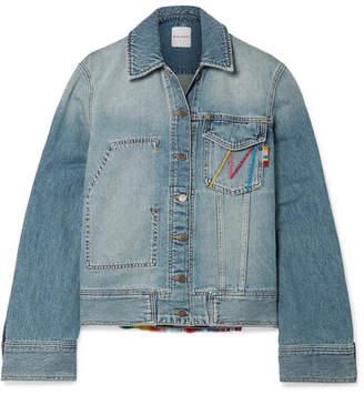 Mira Mikati Fringed Embroidered Denim Jacket - Light denim
