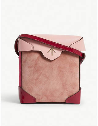 Atelier Manu Ladies Rose Gold and Fuchsia Pink Modern Mini Pristine Combo Leather Suede Shoulder Bag