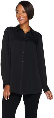 Joan Rivers Classics Collection Joan Rivers Silky Girlfriend Shirt with Back Slit Detail