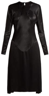 Vivienne Westwood Panelled Long Sleeved Satin Dress - Womens - Black