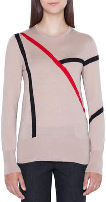 Akris Line-Intarsia Cashmere Fitted Pullover Sweater