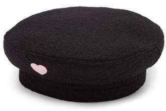 Federica Moretti Basquet Heart AppliquA Wool Cap - Womens - Black