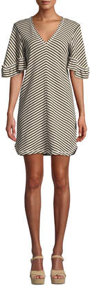See by Chloe Striped Flutter-Sleeve V-Neck Short Dress