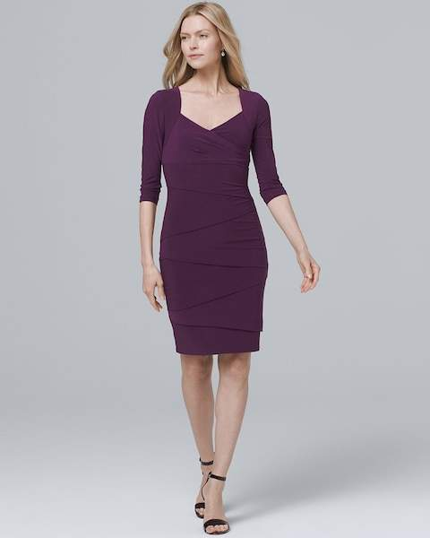 Whbm Three Quarter-Sleeve Instantly Slimming Sheath Dress