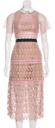 Self-Portrait Midi Crochet Dress