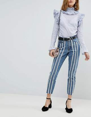 Lost Ink Raw Hem Slim Mom Jeans With Pearl Trims