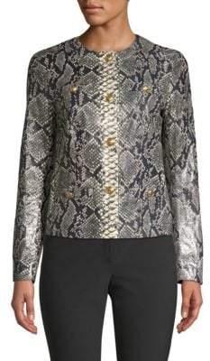 Escada Lany Snake-Print Leather Jacket