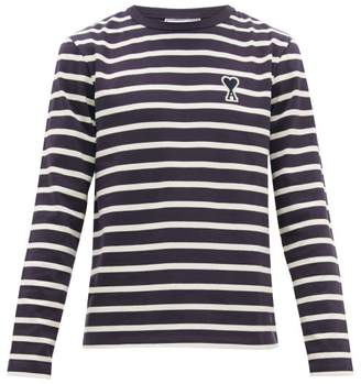 Ami Breton Striped Cotton Jersey Long Sleeved T Shirt - Mens - Navy White
