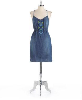 Jessica Simpson Embroidered Cotton Chambray Dress