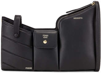Fendi Mini Three Pocket Crossbody Bag in Black | FWRD