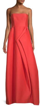 Halston Folded Drape Strapless Silk Faille Gown