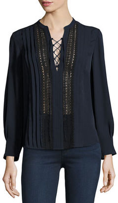 Rebecca Taylor Lace-Up Silk Georgette Top $395 thestylecure.com
