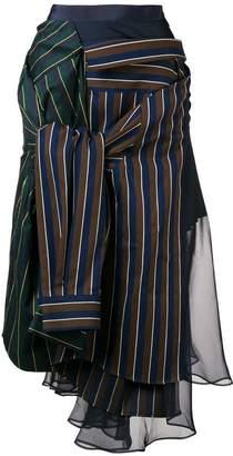 Sacai contrasting panel skirt