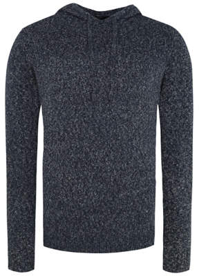 George Navy Tonal Fine Knit Hooded Knitted Jumper