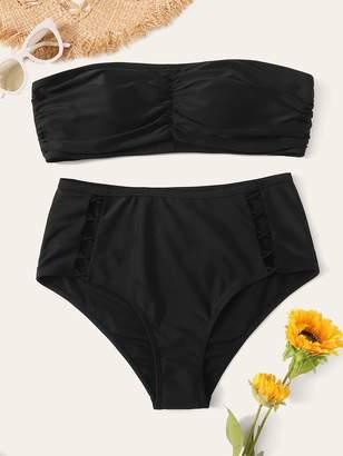 Shein Plus Ruched Bandeau With Criss Cross Bikini Set