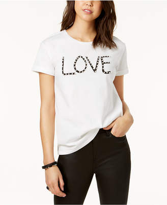 Almost Famous Juniors' Embellished Love Graphic T-Shirt