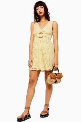 Topshop Womens Daisy Lace Flippy Dress - Yellow
