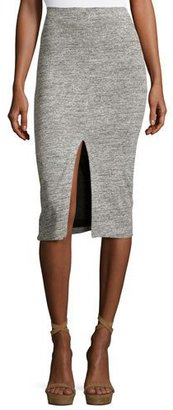 Alice + Olivia Spiga Slit-Front Knit Midi Pencil Skirt, Gray $195 thestylecure.com