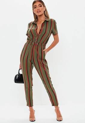 Missguided Khaki Stripe Short Sleeve Romper