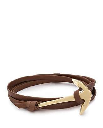 Miansai 18K Gold-Plated Anchor Leather Bracelet, Brown $85 thestylecure.com