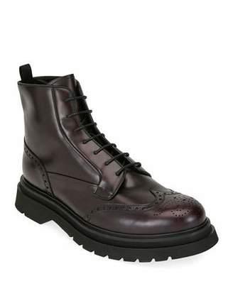 Prada Men's Wing-Tip Leather Combat Boots