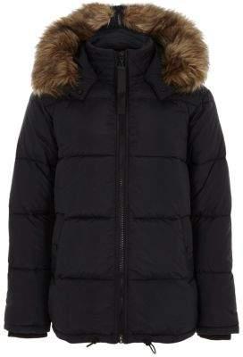 River Island Mens Black padded faux fur trim hooded coat