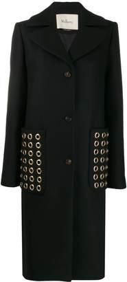 Mulberry rounded stud embellished coat