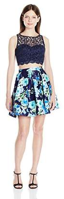 My Michelle Sequin Hearts by Junior's Two Piece Short Prom Dress with Floral Skirt and Lace Top