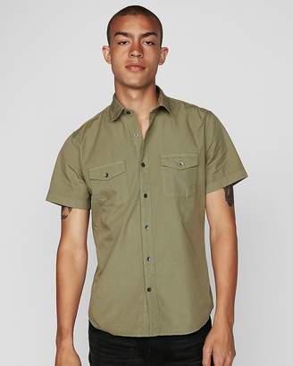 Express Slim Garment Dyed Short Sleeve Shirt