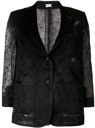 Thom Browne Single Breasted Sack Jacket With Grosgrain Tipping In Organza With Hector And Floral Broderie Anglaise
