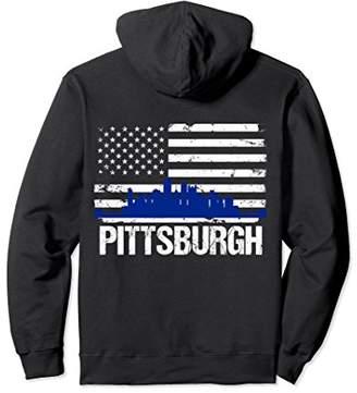 Pittsburgh Skyline Distressed American Flag BACK PRINT