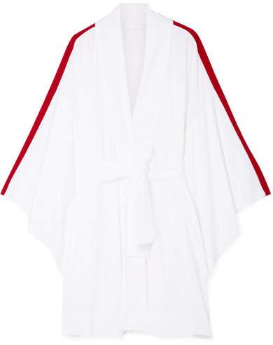 Striped Crepe Robe - White