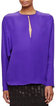 Tamara Mellon Long-Sleeve Silk Keyhole Blouse