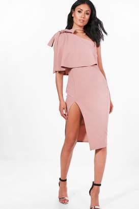 boohoo Bow Shoulder Detail Midi Dress