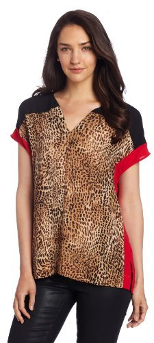 Chaus Women's Short Sleeve Animal Spots Top
