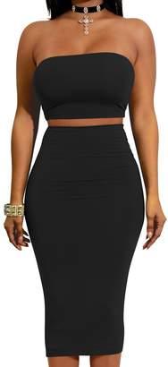 Club L Nimpansa Womens Bodycon Dress Shiny 2 Pieces Tube Top and Skirt Midi